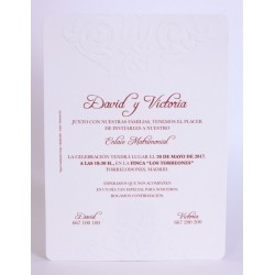 INVITACIÓN CARTULINA BLANCA RELIEVE