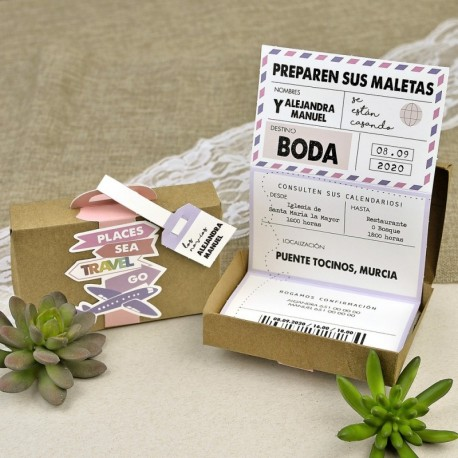 INVITACIÓN DE BODA MALETA TRAVEL